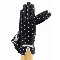 Black/White Polka Dot Leather Gloves Lined in Silk