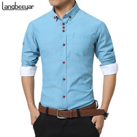 2016 New Fashion Casual Men Shirt Long Sleeve Trend Slim Fit  Men Solid Color High Quality Mens Dress Shirts Men Clothes 5XL