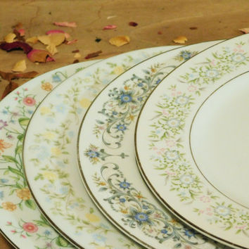 Mismatched China Dinner Plates Floral Pattern  sc 1 st  Wanelo : flower pattern dinnerware - pezcame.com