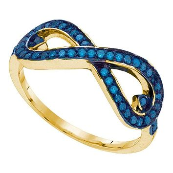 10kt Yellow Gold Women's Round Blue Color Enhanced Diamond Infinity Ring 1/3 Cttw - FREE Shipping (US/CAN)