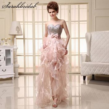 Crystal Ruffle Organza Sweetheart prom/ quinceañera with Bow
