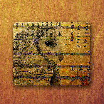 Owl Drawing Mouse Pad Old Note Piano Pattern Art Music Vintage Mousepad Vintage Office Desk Decoration Gift Teacher Gift