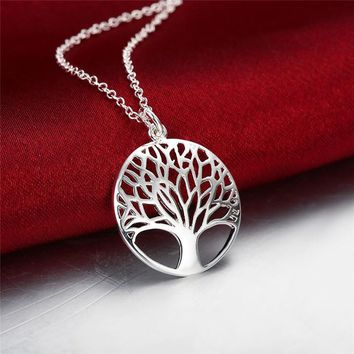 18in Tree Of Life Pendant Necklace, 925 Sterling Silver, Tree of Life.