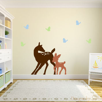 Nursery Wall Decal with Deer, Baby Deer, and Butterflies