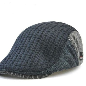 Winter Beret Buckle Hat For Men
