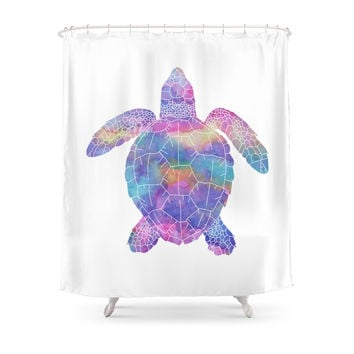 Society6 Watercolor Sea Turtle Shower Curtains