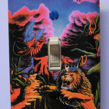 "Trippy blacklight light switch cover plate ""The Wrath"" by Vincent Monaco"