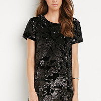 Sequined Velvet Shift Dress