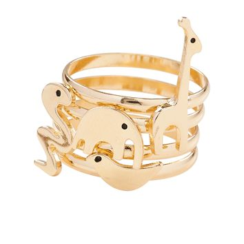 Aeropostale Womens Critters Ring 4-Pack - Yellow,