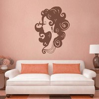 ik2165 Wall Decal Sticker Profile girl hair hair salon hairdresser