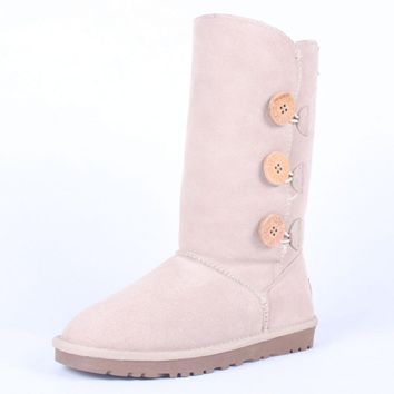"""UGG"" Women Fashion Wool Snow Boots Calfskin Shoes cute three Button Sand white"