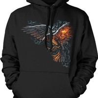 Flaming Raven Mens Gothic Sweatshirt, Flying Death Ravens Liquid Blue Design Pullover Hoodie