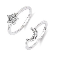 Sterling Silver & CZ Brilliant Embers Moon And Star 2 Piece Ring Set