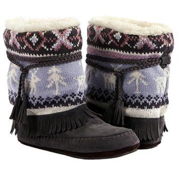 Women's Muk Luks Ricki Slipper Boot Grey FamousFootwear.com
