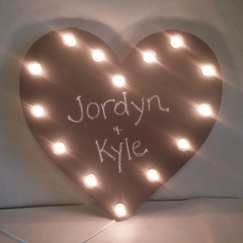 HEART CHALKBOARD Lighted Marquee Wedding Love Sign made of Rusted Recycled Metal Vintage Inspired