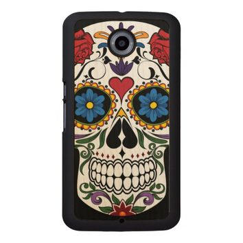 Colorful Sugar Skull Wood Phone Case