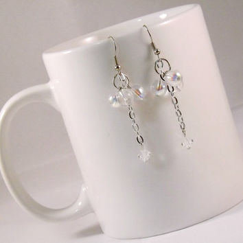 Clear Bead Earrings, Swarovski Crystal Earrings, Bridal and Bridesmaid Jewelry, Gifts under 15, Silver Dangle and Drop