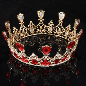Queen King tiara Crown Large Bridal Wedding Tiaras and Crowns Headdress Women Head Jewelry Ornament Bride Hair accessories