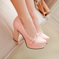 Documentary shoes round head high shoes pink