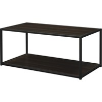 Modern Industrial Style Espresso Wood Coffee Table with Sturdy Metal Frame