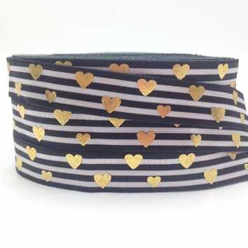 High Quality Gold Foil Love Heart Fold Over Elastic Black Stripe Print 5/8'' FOE Ribbon For Elastic Hair Band Hair Accessory 10Y