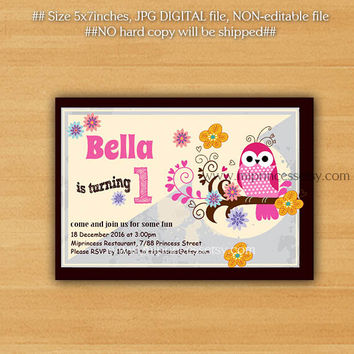 OWL Birthday Invitation for any age,  Whimsical design hand drawn owl any age, invitation 1st 2nd 3rd 4th 5th 6ht 7th 8th 9th kids- card 265