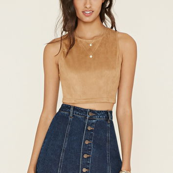 Faux Suede Crop Top   Forever 21 - 2000170632