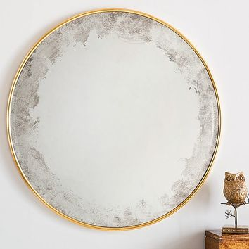 Monique Lhuillier Antiqued Round Mirror