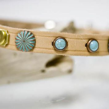 Turquoise and Patina Copper Leather Dog Collar