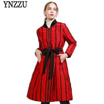 Winter Collection Womens Down Jacket Chic Striped Lace Up Slim Female Long Down Coat Parkas Yo488