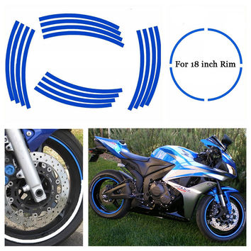 """18"""" Strips Wheel Stickers Decals Motorcycle Rim Tape Strips Bike Car Tape 7 Colors 16pcs For Yamaha Honda BMW Harley"""