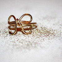 gold lyra - handmade hypoallergenic wire-wrapped 14 karat gold bow ring by lilla stjarna - ft. 14 karat gold  - gifts under 50