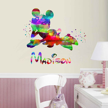 kcik2008 Full Color Wall decal Watercolor Character Disney Minnie Mouse Character Disney Sticker Disney girl personalized Child's name