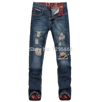 2015 new ripped mens jeans brand destroyed hole jeans straight men's  jeans loose frayed denim true biker jeans men 109