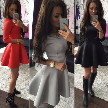 Sought-After Slim Women Dress Party Mini Skater Short Dress Sexy Ladies Long Sleeve Dress Women Clothing