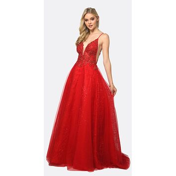 Sheer Embroidered Bodice Sequin Train Tulle Ball Gown Red