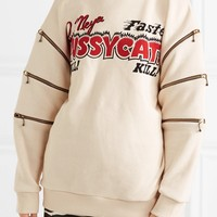 GUCCI Zip-detailed printed cotton-jersey sweatshirt