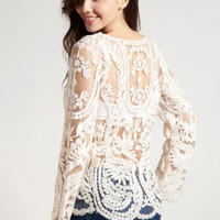 Sexy Sheer Embroidered Lace Shirt