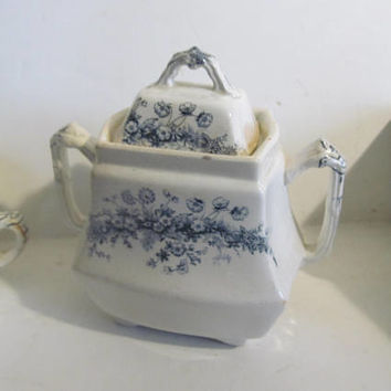 Parisian Granite Princess Adams England Sugar Bowl Victorian Antique Blue Transferware Sugar Bowl Double Handle Early English Ironstone