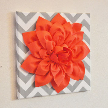 "Wall Flower Decor -Coral Dahlia on Gray and White Chevron 12 x12"" Canvas Wall Art- Baby Nursery Wall Decor-"