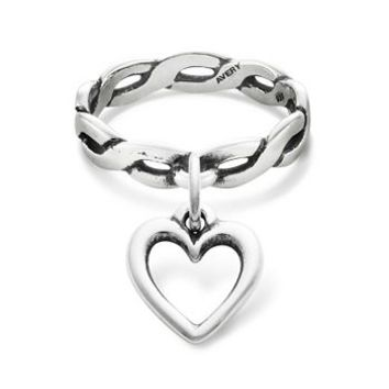 Twisted Wire Dangle Ring with Open Wire Heart Charm | James Avery