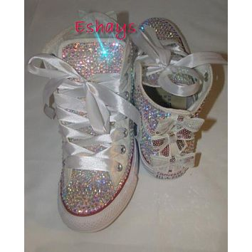 AB Sparkly High Top Converse with Sequin Silver Bow d393d28c9