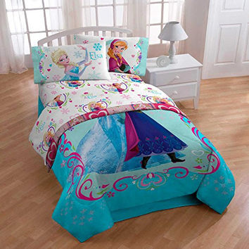 Disney Frozen Anna and Elsa Celebrate Love Floral Microfiber Sheet Set, TWIN
