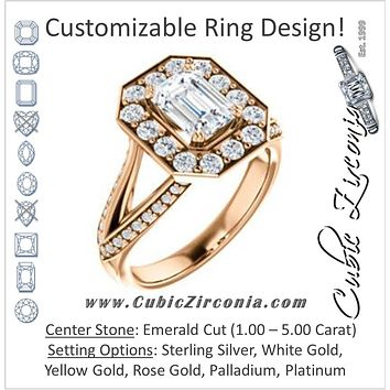 Cubic Zirconia Engagement Ring- The Darsha (Customizable Emerald Cut with Large-Accented Halo & 3-sided Split-Pavé Band)