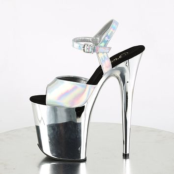 "Flamingo 809HG Silver Hologram Mirrored Platform 8"" High Heel Ankle Strap Shoe"