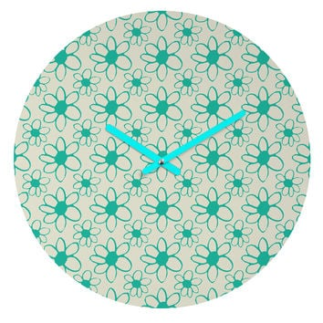 Allyson Johnson Mod Flowers Round Clock