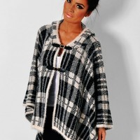 Elle Black & Off White Thick Tartan Buckle Cape | Pink Boutique