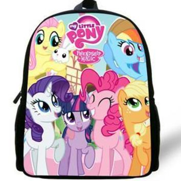 12-Inch Cute Cartoon Backpacks For Girls My Little Pony Backpack Schoolbag For Kids Children Christmas Gift Bags 1-6 Years Old