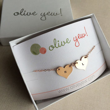 Small Hand Stamped Multiple Heart Necklace / Engraved Necklace / Personalized Heart Necklace / 1319-A