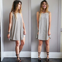 A Potato Sack Dress in Stripes